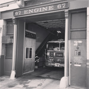 Engine 67 awaits the next job at quarters on 170th Street in Manhattan.
