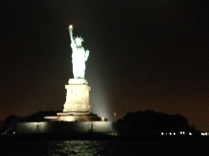 The Statue of Liberty at night, shot from the yacht Manhattan.
