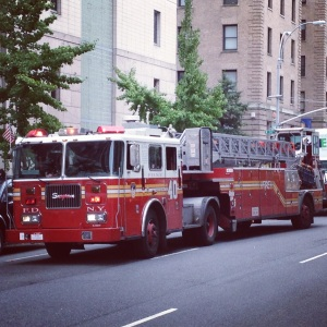 FDNY Ladder 40 outside Lerner Hall on Broadway at Columbia University.