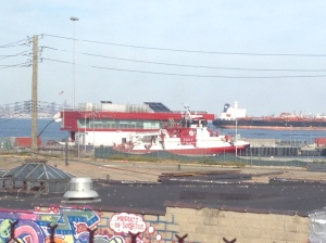 The FDNY's Marine 9 sits at the dock in Staten Island, New York.