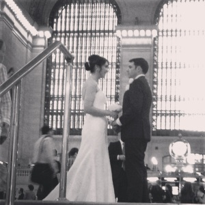 A couple pose for wedding photos in the main concourse of Grand Central Terminal in Manhattan.