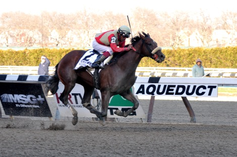 Wicked Strong runs to the wire at the Wood Memorial Stakes on April 5, 2014. (Photo Credit: Dan Heary)